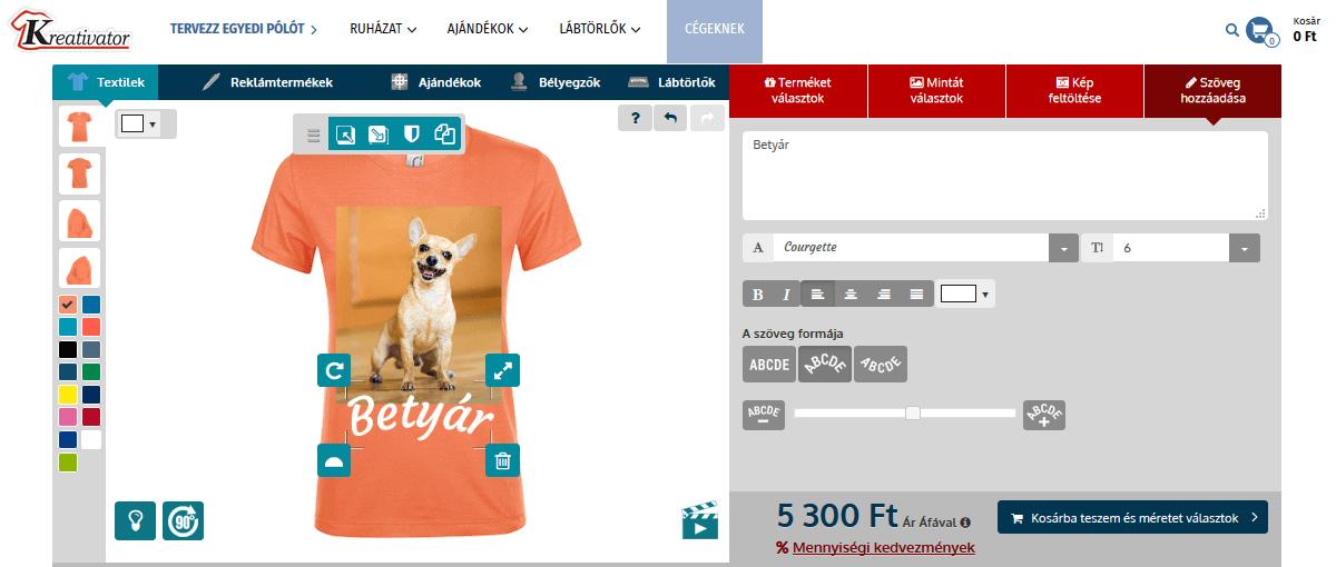 Egyedi póló készítés online tervezőben