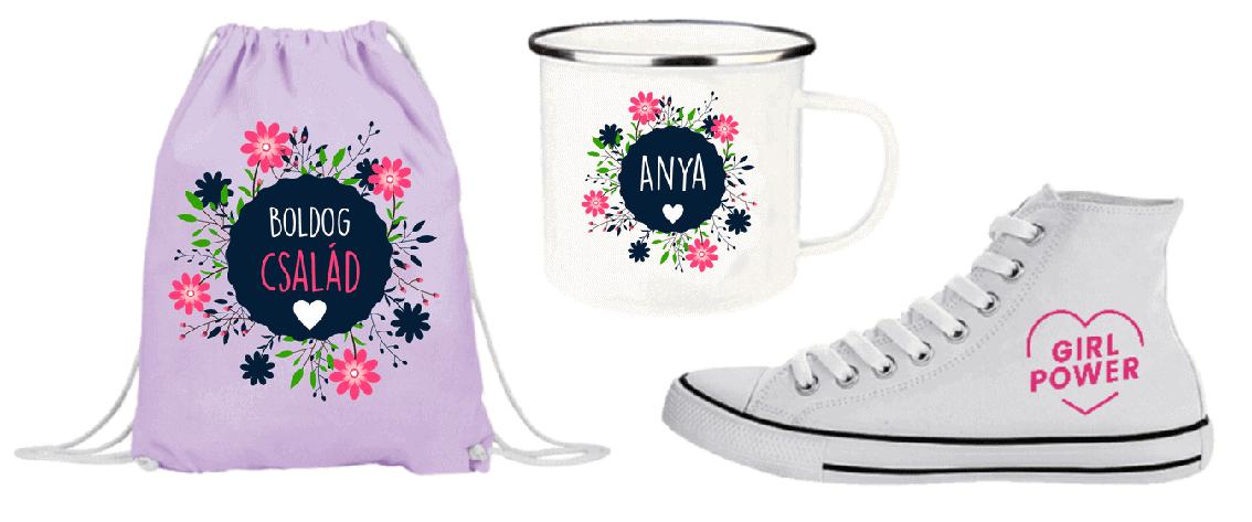 Pamut táska, zománcos bögre és vászon cipő