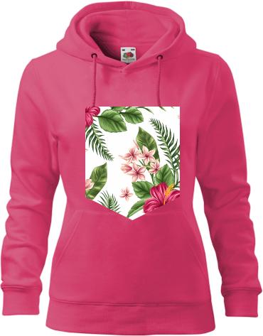 Női kapucnis pulóver Fruit nyomtatott mintával Virágok